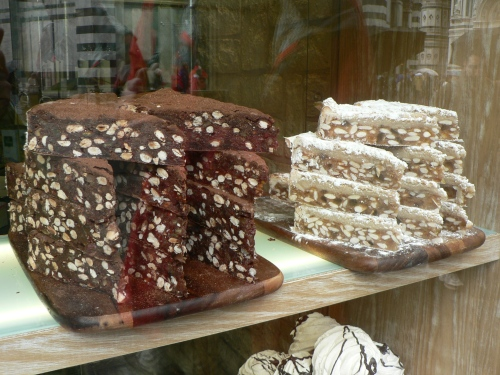 Just a few of the typical Italian goodies lining the shop windows in towns.