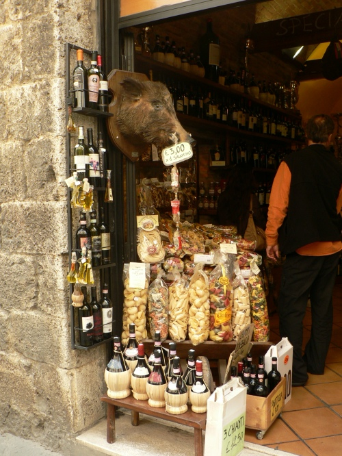 A touristy food shop in San Gimignano. The Italian wild boar is the source of some supposedly incredible 'salumi,' though I did not consume any myself.